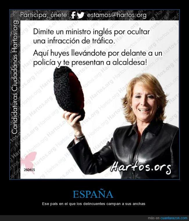 alcaldesa,dimitir,España,Esperanza Aguirre,infracción,ministro,presentar,Spain is different,tráfico