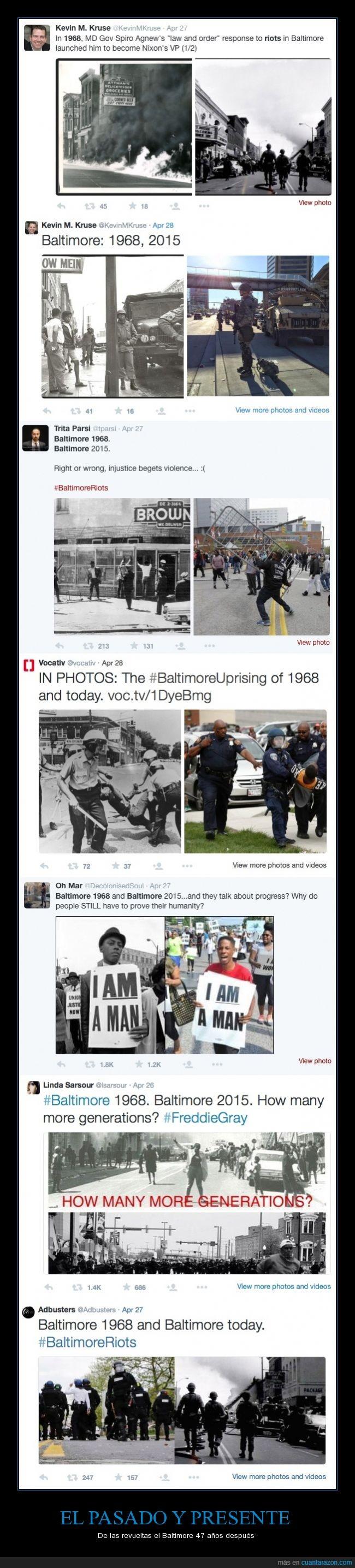 1968,2015,Baltimore,derechos,manifestacion,policia,racismo,revuelta,riot