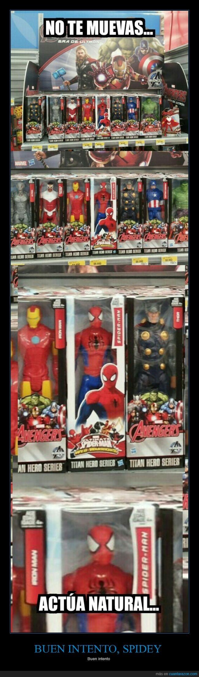 avengers,caja,colar,disimular,estantería,heroe,Man,mezclar,Spiderman,súperhéroes