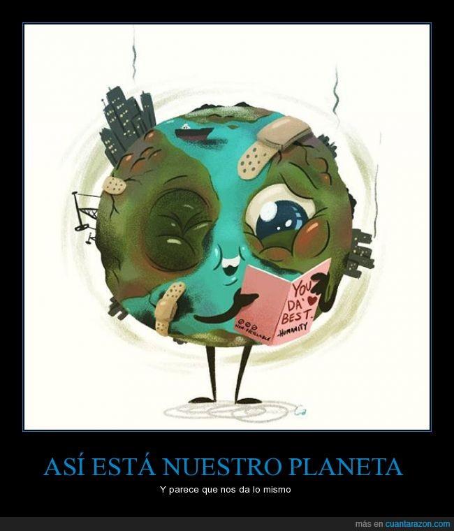 amor,ayudar,contaminacion,contaminado,cuidar,dia,ecología,enferma,enfermedad,humanidad,planeta,sucia,sucio,tarjeta,tierra