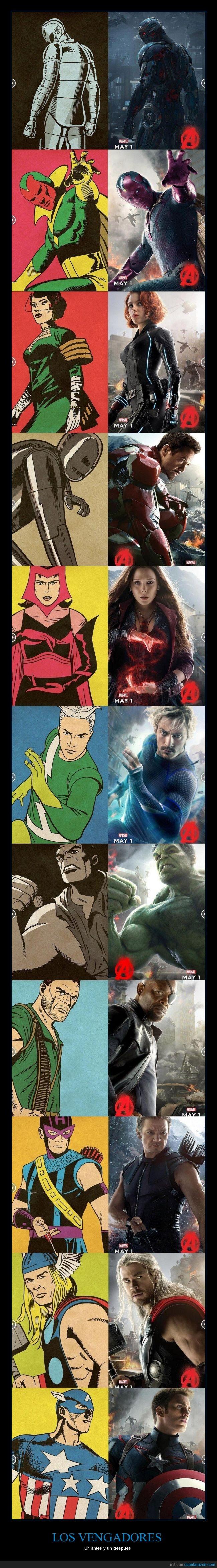 antes,bruja escarlata,capitan america,comic,despues,hulk,ironman,nick fury,ojo de alcon,quicksilver,the avengers,thor,ultron,vengadores,vision,viuda negra