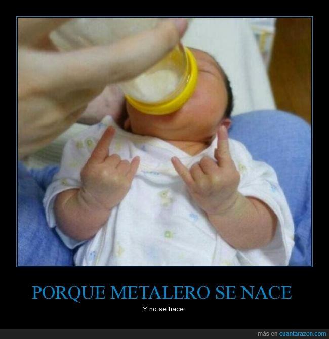 bebe,biberon,cuernos,metal,metalero,niño,pequeño,rock