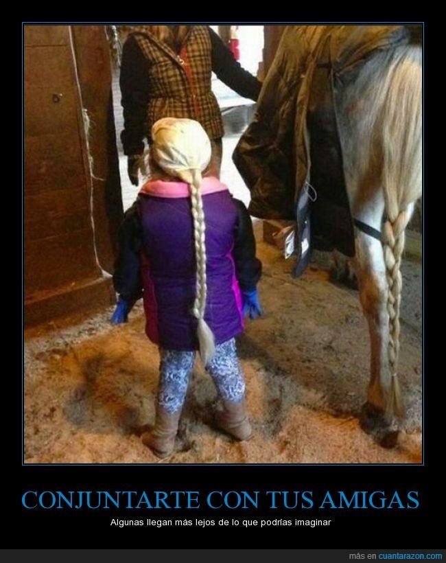caballo,igual,largo,niña trenza,pelo,rubia