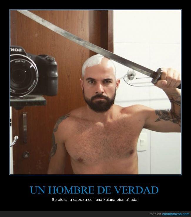 afeitar,espada,hombre,katana,peligro,selfie,verdad