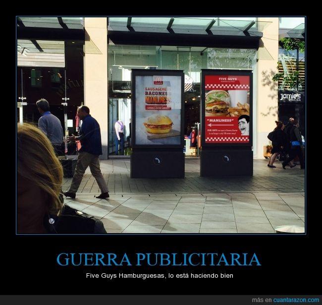 anuncios,burla,cartel,comida,Five Guys Hamburguesas,guerra,McDonalds