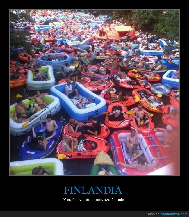 bajar,balsa,barcaza,barco,beber,beer floating,cerveza,festival,Finlandia,pelota,rio