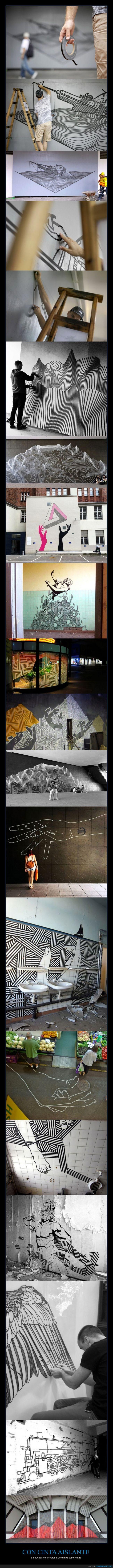 aislante,arte,asia,celo,cinta,geometria,laocoonte,mural,pintor,protector,tren