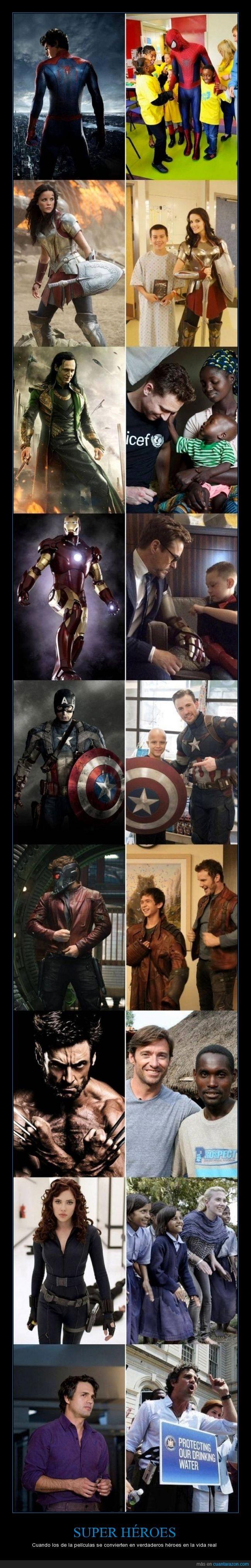 actor,avengers,ayudar,buenas acciones,heores,hospital,hulk,iron man,marvel,spider man,vida real,wolverine