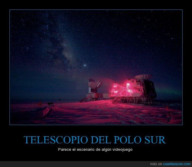 escenario,paisaje,polo,sur,telescopio,videojuego