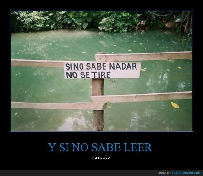 aviso,cartel,lago,leer,nadar,saber,tirar,tire