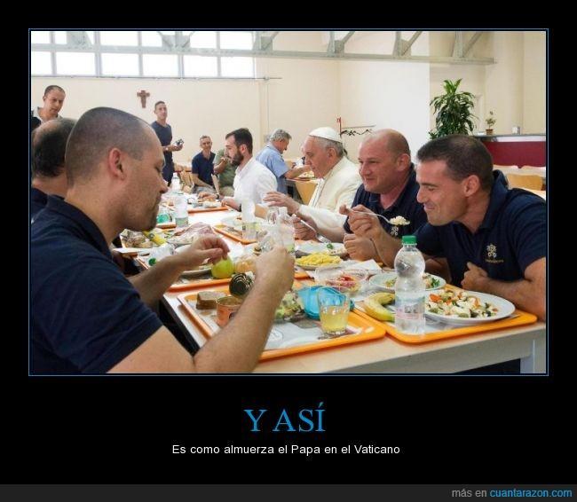comedor,comer,comida,ejemplo,empleado,Francisco,humildad,iglesia,papa,sorprender