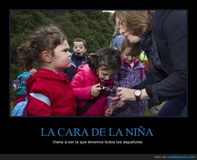 cabreo enfado,campaña,cole,enfadada,España,excursion,niña,partido popular,pequeña,política,PP,Soraya