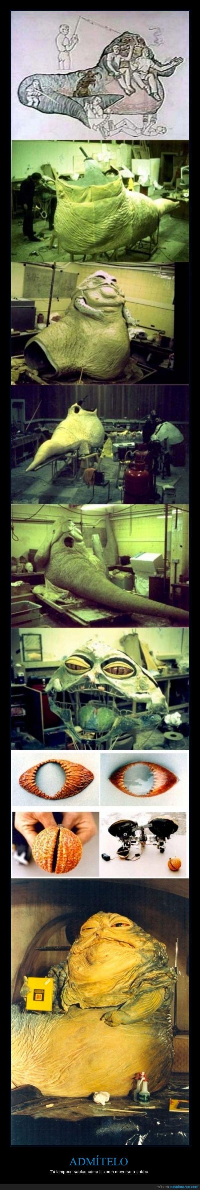 dentro,Jabba el Hutt,maqueta,marioneta,movimiento,muñeco,pelicula,Star Wars