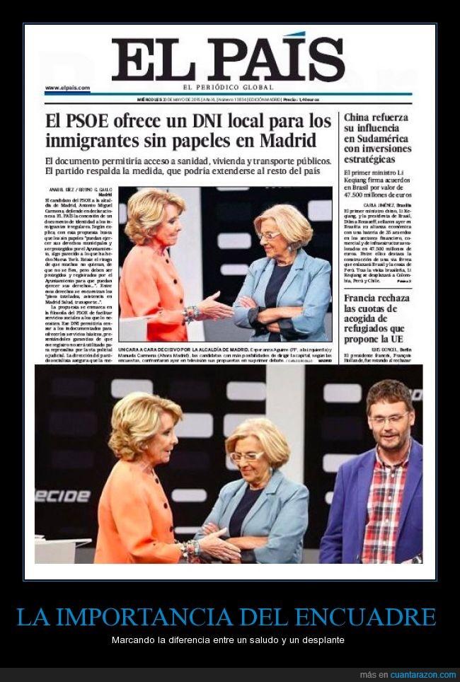Carmena,el pais,elpais,Esperanza Aguirre,fotografia,manipulación,periodico,saludo