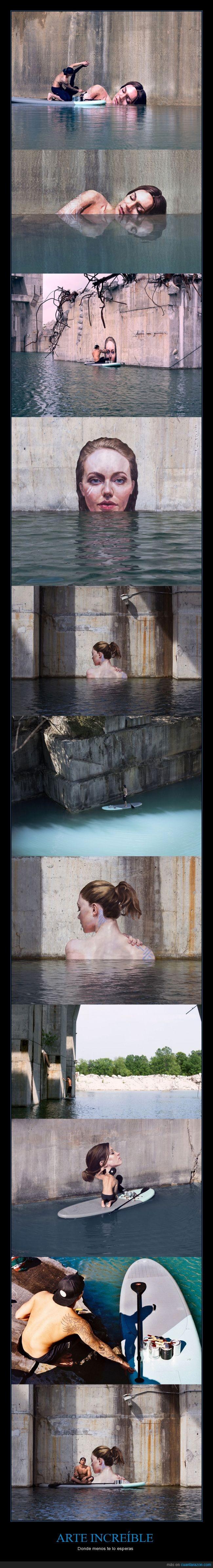 agua,arte,artista,bañera,chica,cuatro,lago,mucho swag en la última foto,pared,pintura,reflejo,surf,tabla