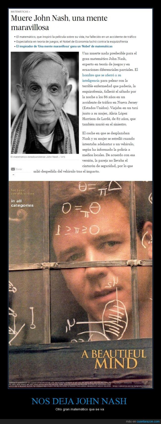 a beautiful mind,dep,john nash,matemático,mente maravillosa,muere,muerte,rip,teoría de juegos