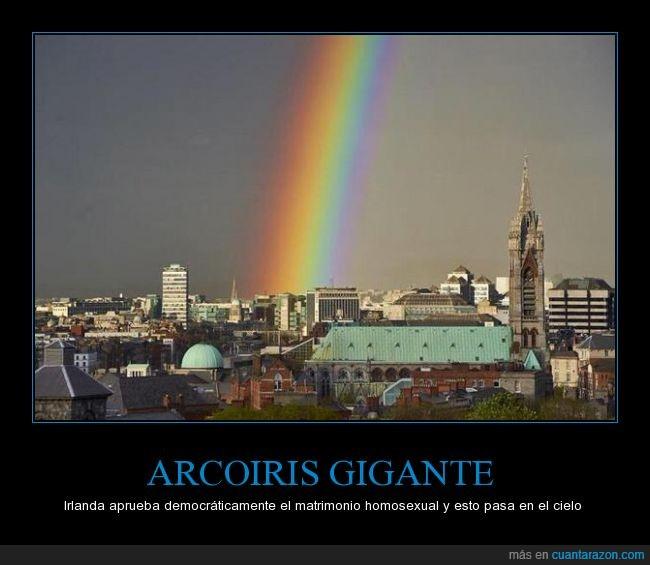 A Dios le alegra,arcoiris,boda,cielo,derecho,gay,gigante,homo,matrimonio,señal
