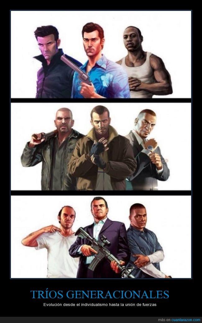 empezaron siendo personajes individuales hasta unir 3 en un solo juego progresivamente.,GTA,GTA III,GTA IV,GTA V,San Andreas,Vice City