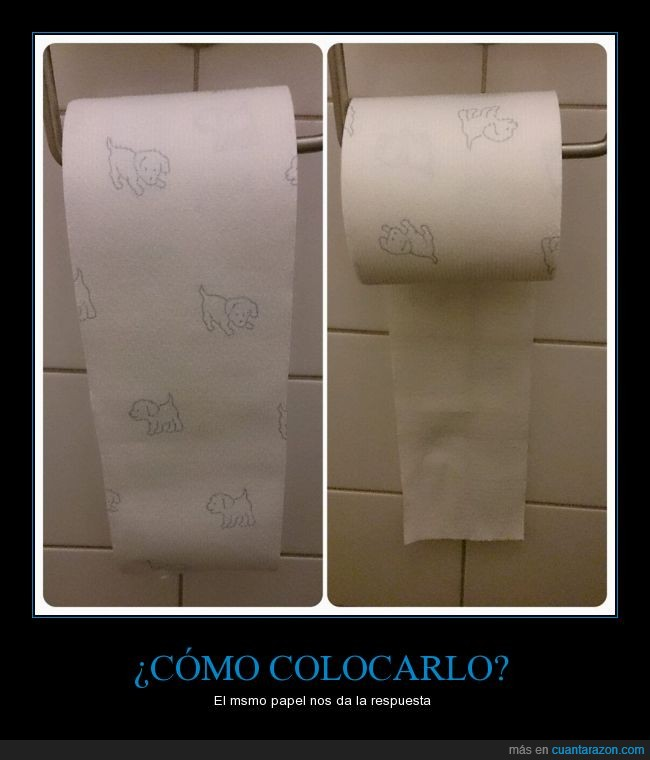 baño,dibujo,duda,explicacion,papel higiénico,perrito,perro,posición,rollo