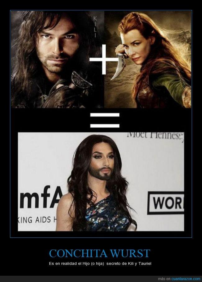barba,conchita wurst,el hobbit,elfa,enano,eurovision,kili,tauriel