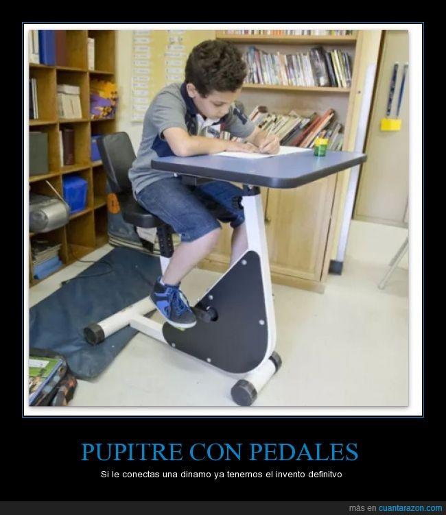 aprovechar,educación,energia,escuela,mesa,niño,niños hiperactivos = luz gratis,pedal,pedales,pupitre