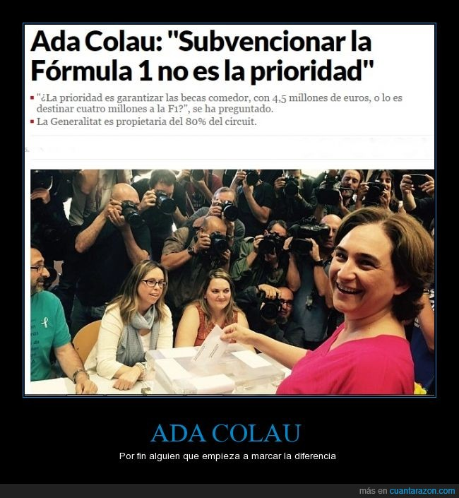 Ada Colau,Becas Comedor,Cambio de mentalidad,Elecciones,Formula 1,pagar,subvencion