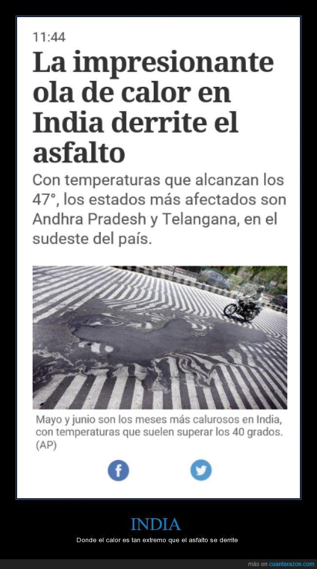 asfalto derretido,calor,extremo,india