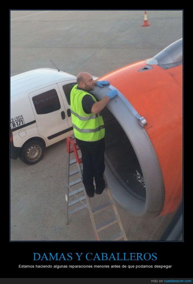 apaño,arreglar,avión,celo,cinta canela,desperfectos,reparación,Turbina