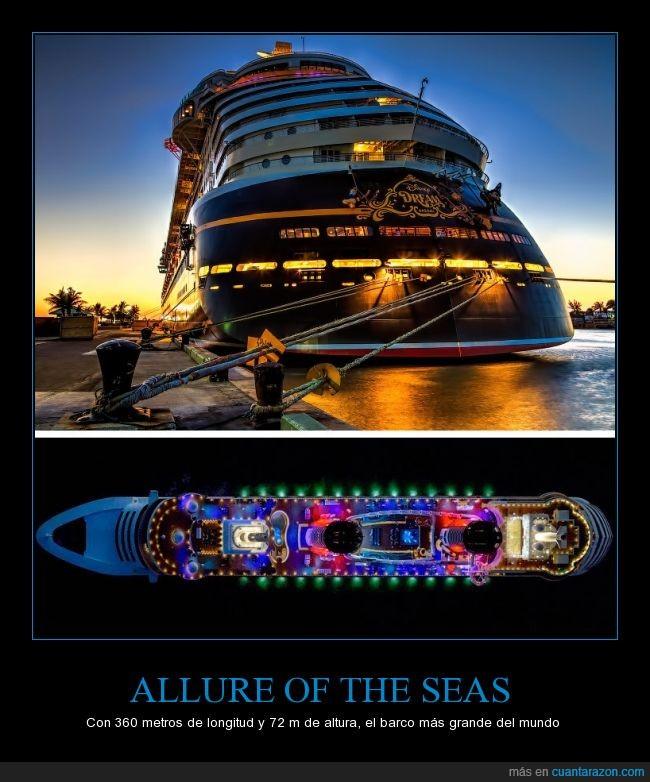 Allure of the Seas,barco,crucero,enorme,lujo,tres canchas de fútbol