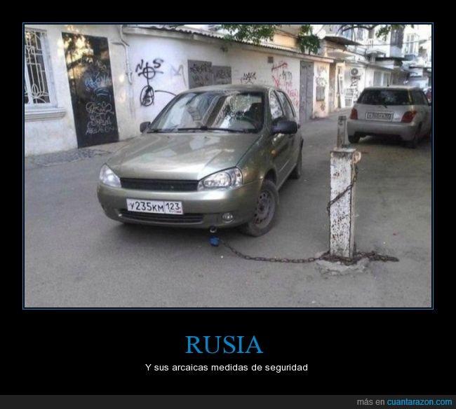 cadena,candado,coche,Rusia,seguridad,sistema