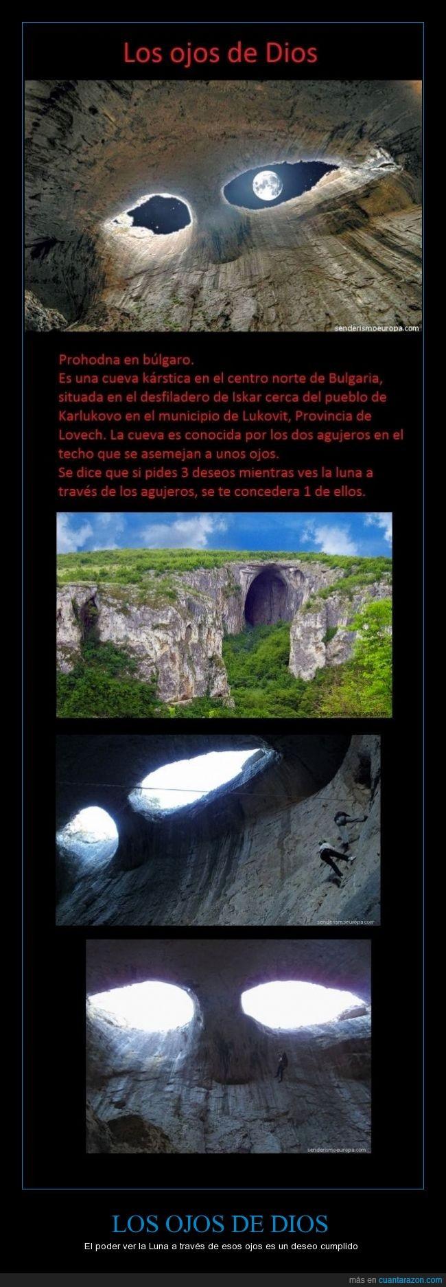 agujero,Bulgaria,Deseos,Los ojos de Dios,Luna,Prohodna,roca,senderismo
