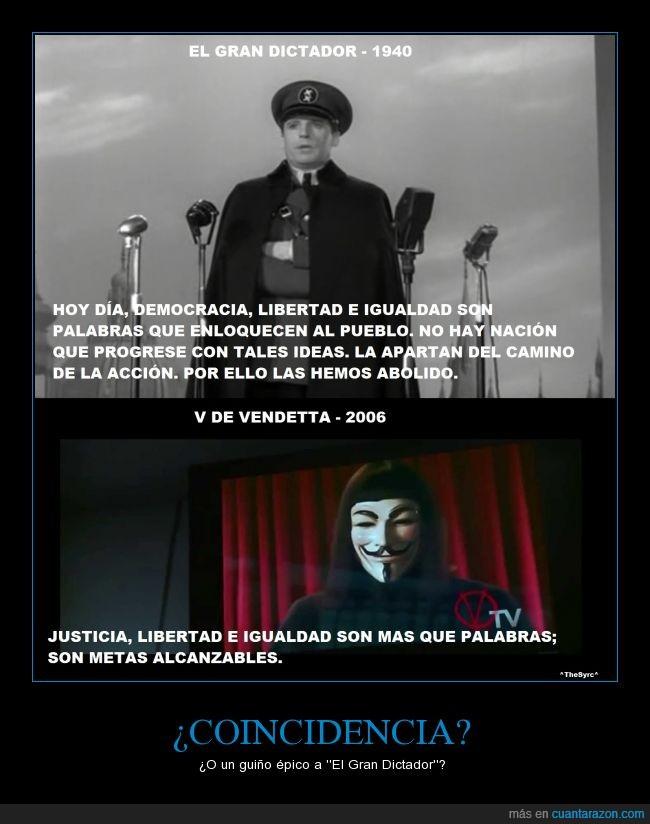 Chaplin,Cine,Democracia,el gran dictador,Igualdad,Justicia,Libertad,V de Vendetta