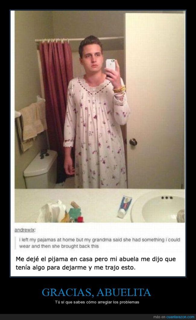 abuela,camison,chico,dormir,olvidar,pijama