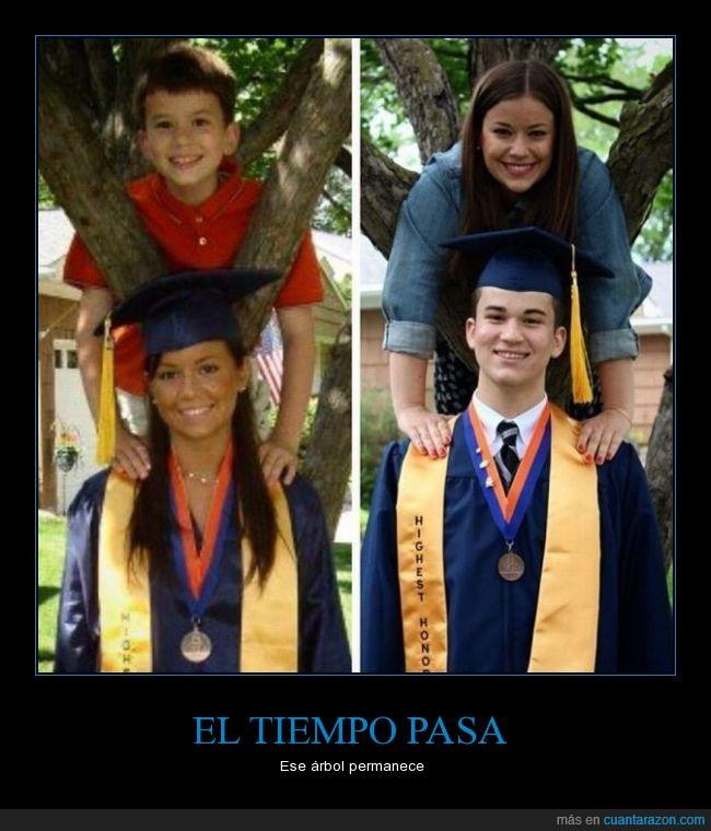 arbol,crecer,estudiante,evolucion,familia,graduacion,hermana,hermano,honores,niña,niño,pasa,tiempo