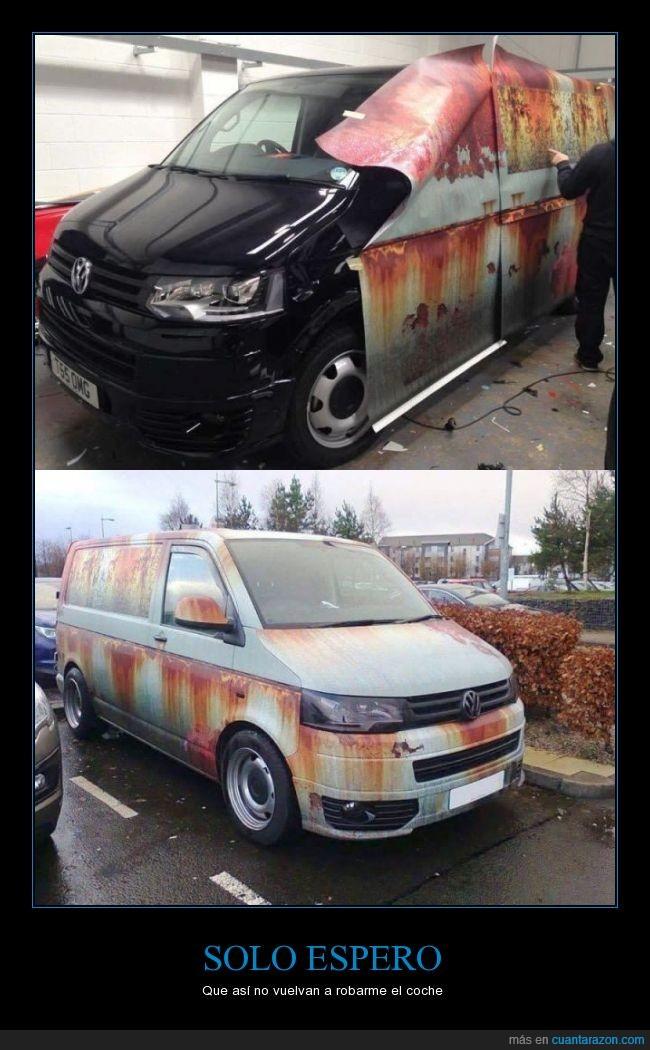 antirobo,coche,engañar,engaño,furgoneta,nuevo,oxido,pegatina,pintar,robo,vinilo
