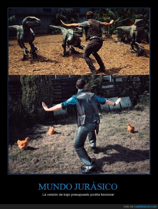 Chris Pratt,dinosaurio,funcionar,gallina,jurassic world,parecido,Película,presupuesto,versión bajo