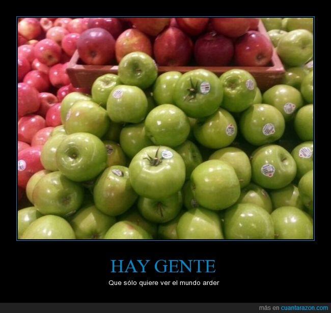 arder,color,error,fruta,fruteria,igual,manzana,mundo,tomate,verde