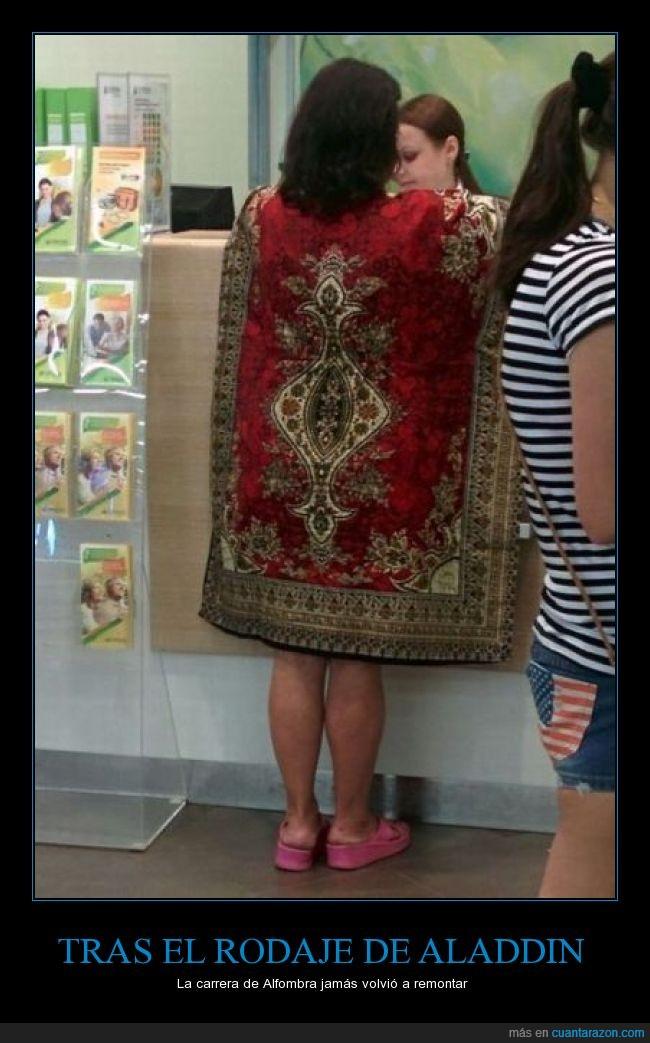 Aladdin,alfombra,carrera,estampado,mujer,poncho,ropa,señora,vestir