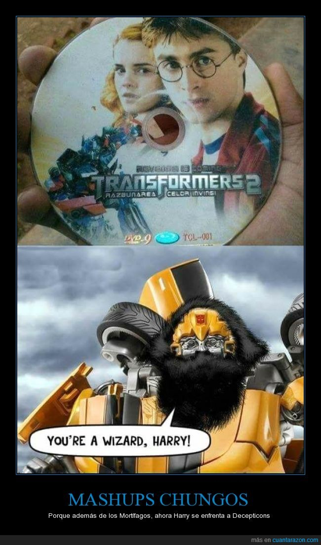 bumblebee,falsa,hagrid,harry potter,imitacion,mago,mezcla,montaje,optimus prime,transformers