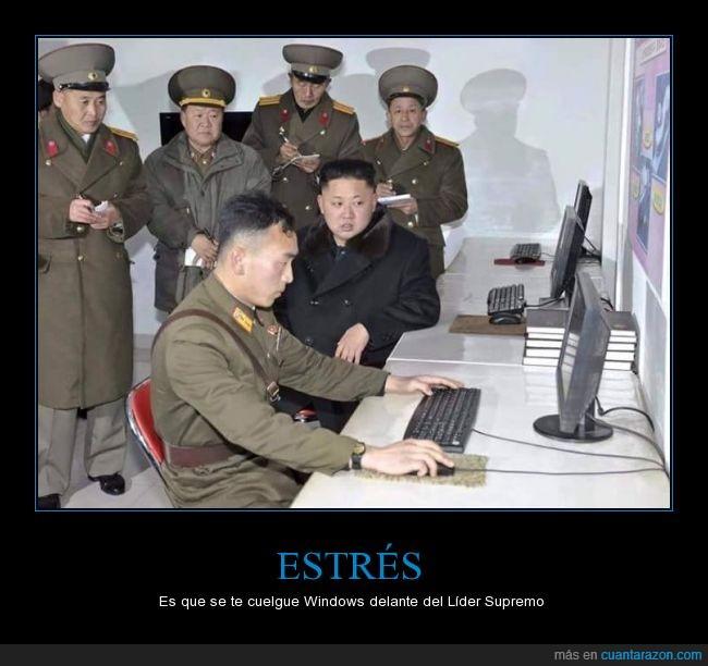colgar,Corea del norte,dictadura,estres,Kim Jong-un,lider supremo,ordenador,windows