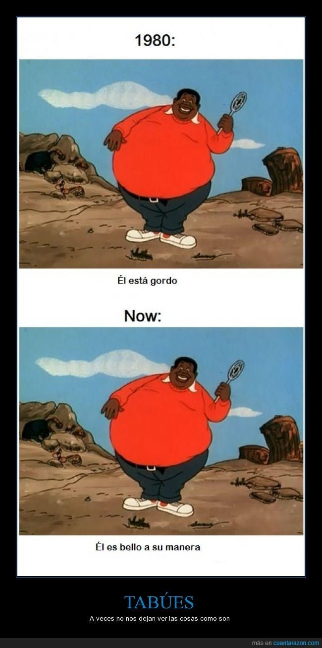 1980,ahora,antes,dibujo,Fat Albert,gordo,gordura,holi,tabú