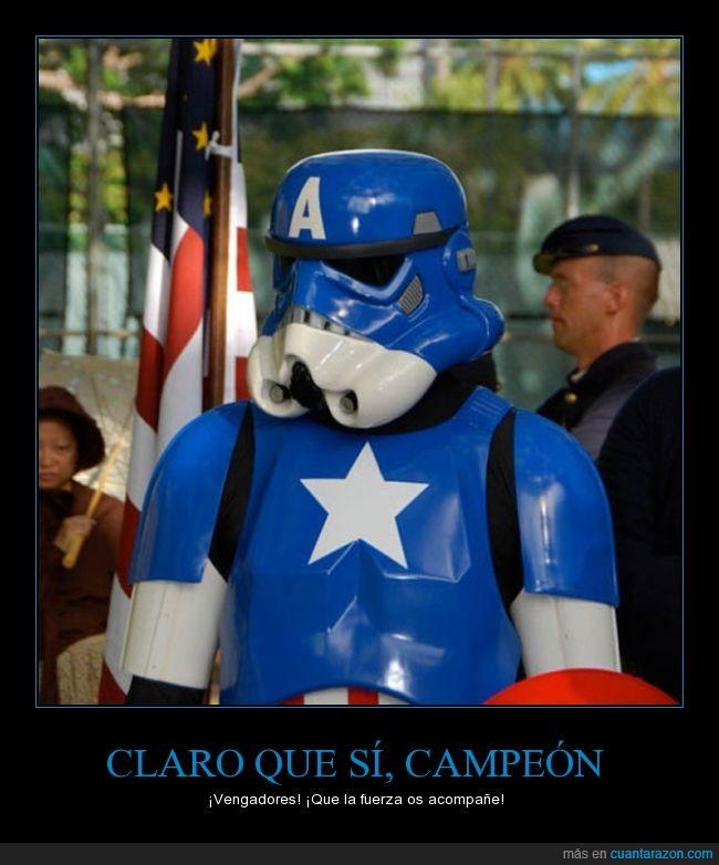 Avengers,Capitán América,encima,fuerza,mashup,mezcla,pintar,star wars,Vengadores