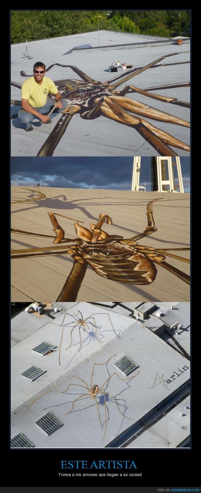 3d,araña,Arte,artista,aviones,Marlin Peterson,perspectiva,pintura,techos,tejados