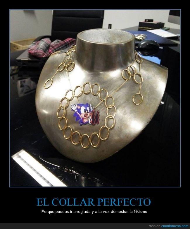 anillas,anillos,arreglar,caer,chica,collar,doradas,mujer,perder,sonic,vestir
