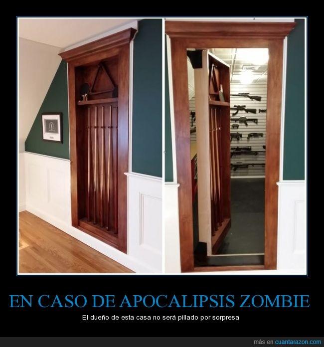 apocalipsis,arma,billar,casa,detras,habitacion,palo,pistola,secreta,taco,zombie