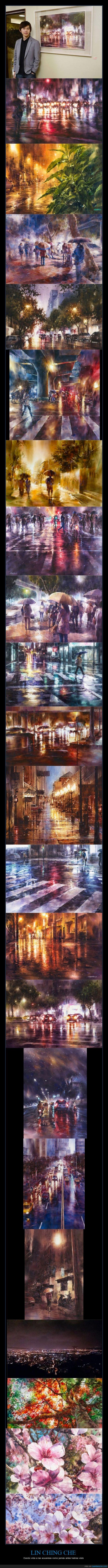 acuarela,agua,arte,artista,cerezo,ciudad,cuadro,Lin Ching Che,lluvia,pintar,pintura,taiwan,taiwanes
