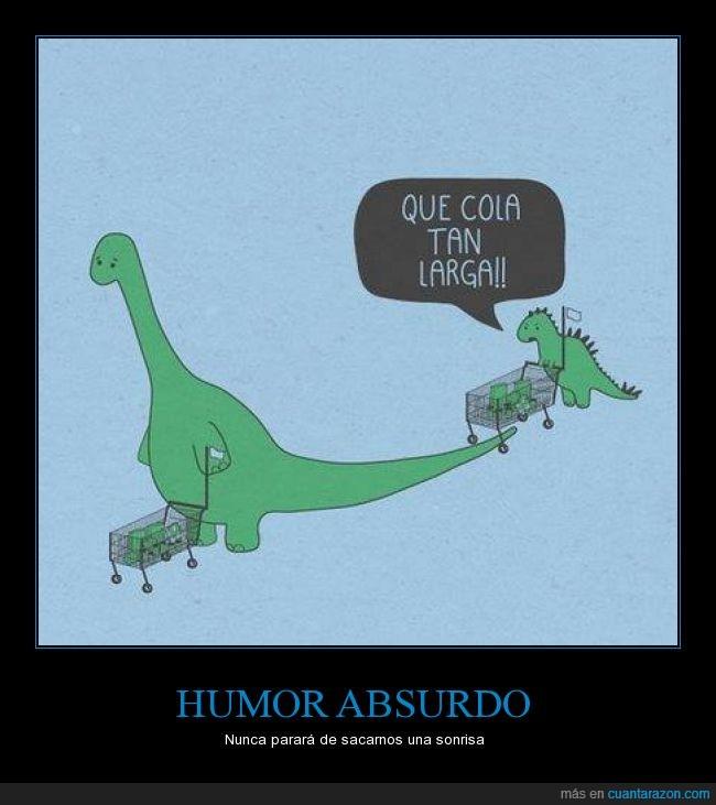 carrito,cola,comprar,dinosaurio,diplodocus,esperar,humor absurdo,larga,supermercado