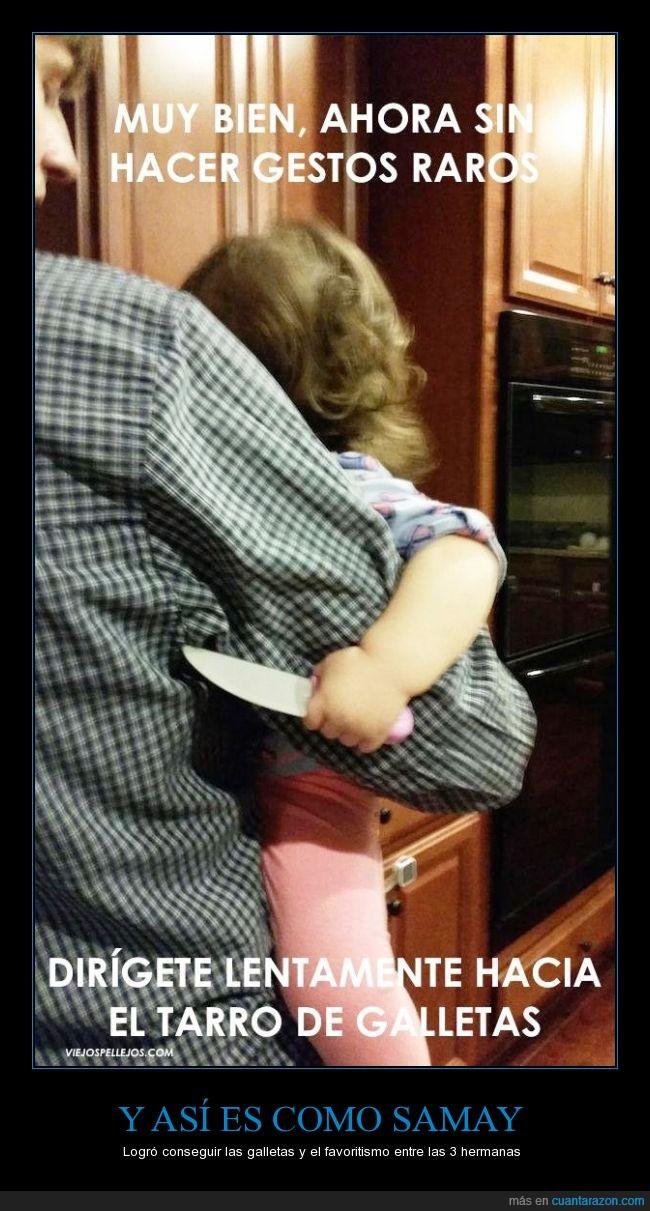 amenaza,bebe,cuchillo,despacito,galleta,miedo,movimiento,niña,raro,tarro