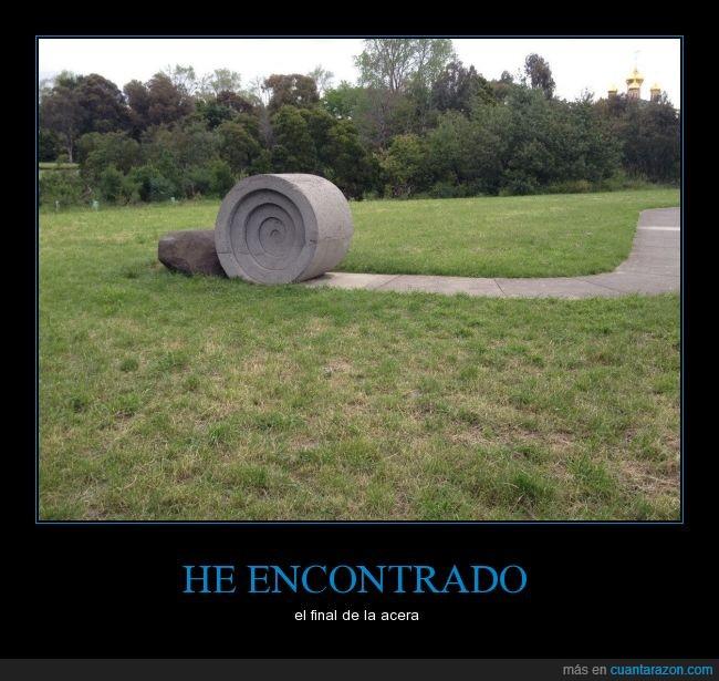 Acera,camino,escultura,final,jardín,pasto,piedra,roca,rollo