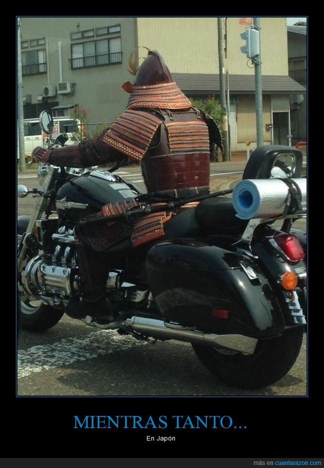 cosplay,guerrero,motocicleta,motorista,Samurai,vestuario
